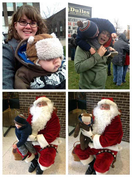 Babywearing & Meeting Santa at the Christmas Parade in Watertown, NY