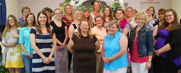 group photo at church tea party