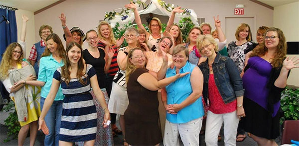 funny group photo at church tea party