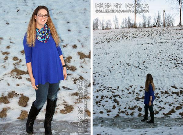 mommy fashion blogger wearing blue tunic